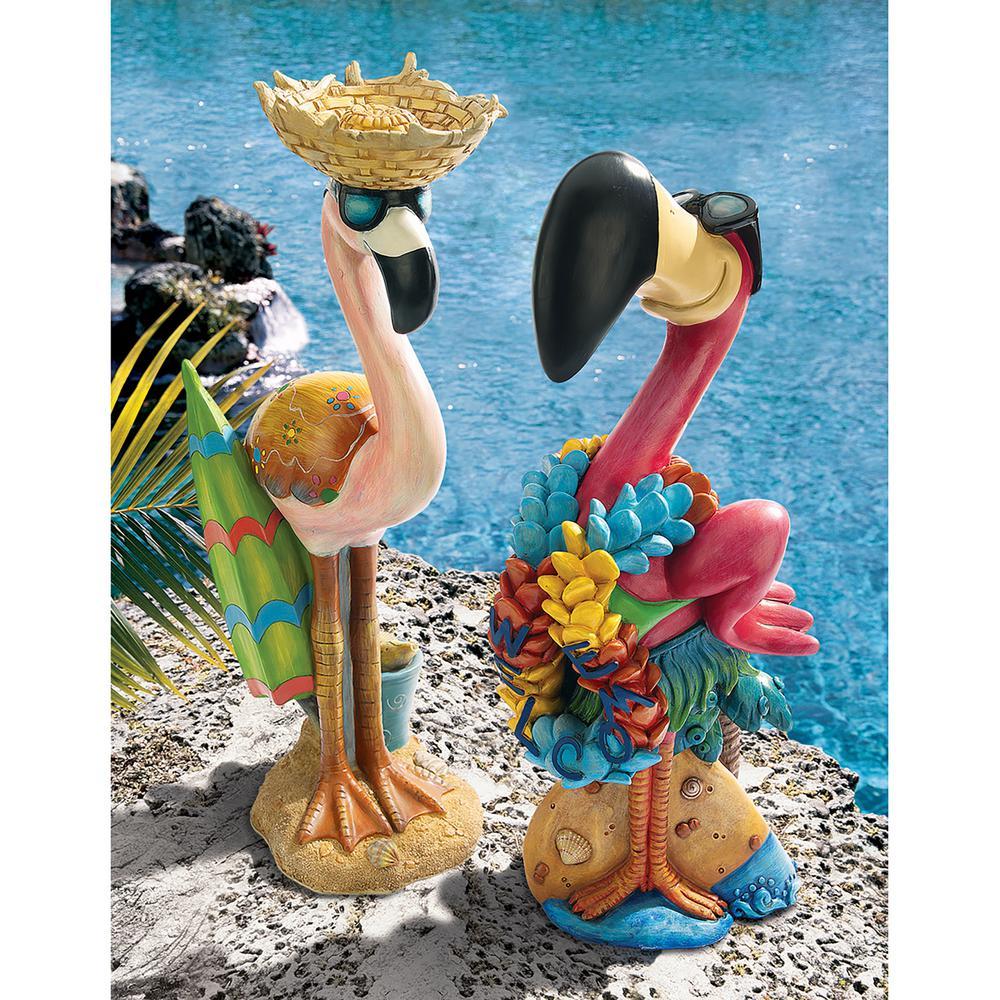Pink Flamingo Luau Larry and Flamingo Frank Garden Statue Set (2-Piece)