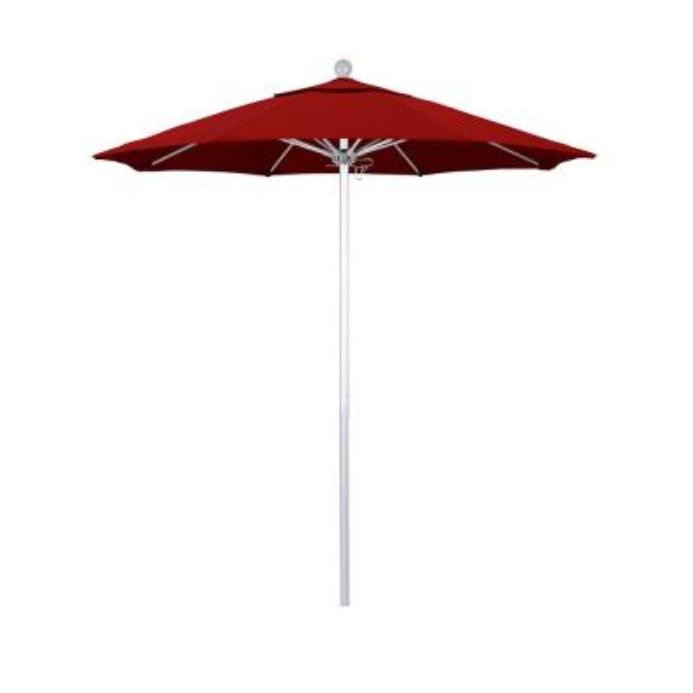 7.5 ft. Market Silver Anodized Fiberglass Pulley Open Patio Umbrella in Red Pacifica
