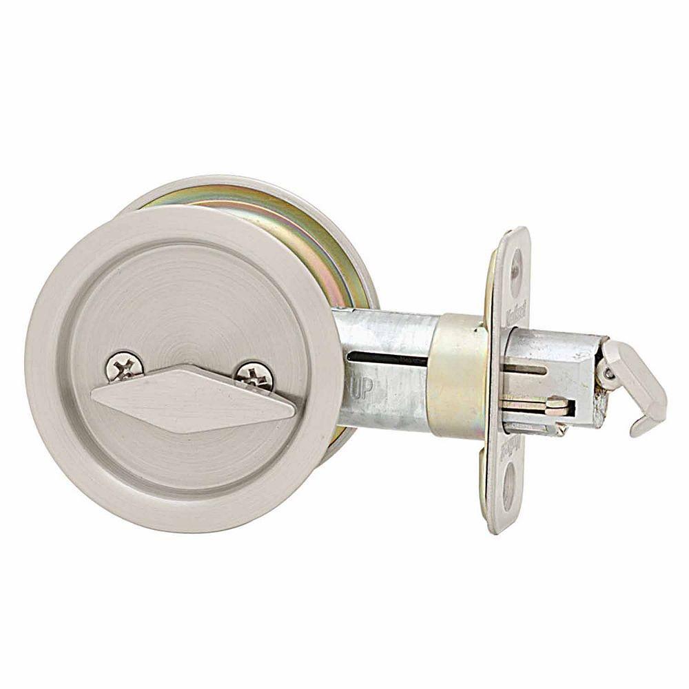 Round Satin Nickel Bed/Bath Pocket Door Lock