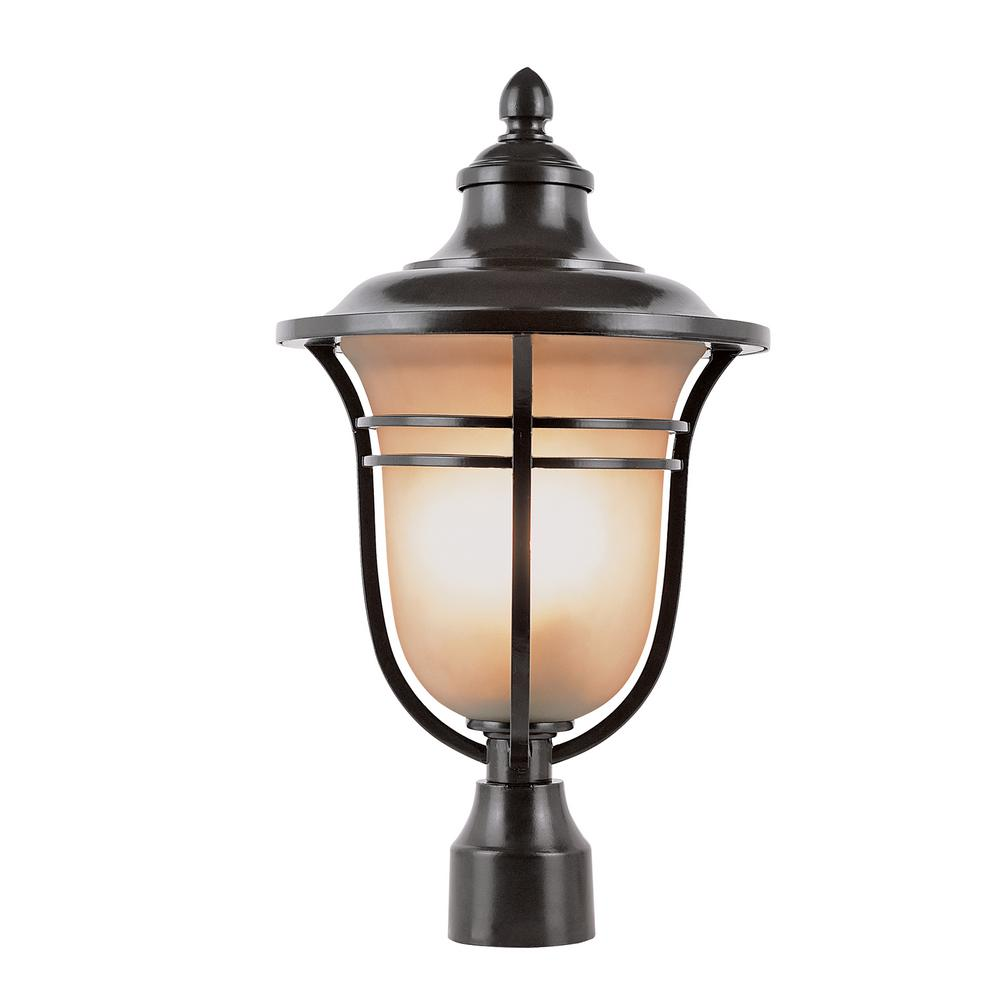1-Light Outdoor Rubbed Oil Bronze Post Light