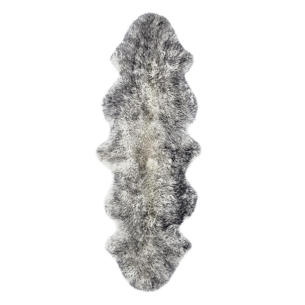 New Zealand Gradient Grey 2 ft. x 6 ft. Double Sheepskin Area Rug