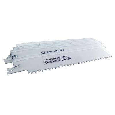 6 in. x 3/4 in. x 0.050 in. 6 Teeth per in. Plaster Cutting Bi-Metal Reciprocating Saw Blade (10-Pack)