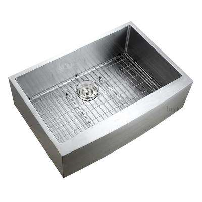 Handmade Farmhouse/Apron-Front Stainless Steel 30 in. Single Bowl Kitchen Sink with Grid and Strainer