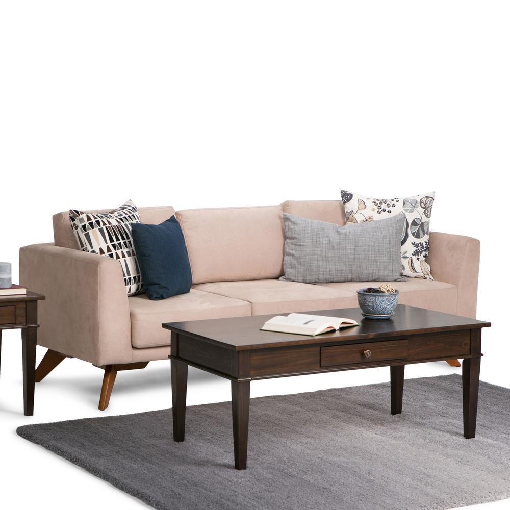 Coffee Table Set Home Depot: Simpli Home Carlton Dark Tobacco Storage Coffee Table