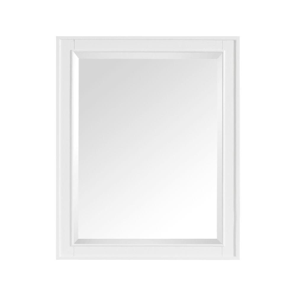 Madison 28 in. W x 32 in. H Framed Rectangular Beveled Edge Bathroom Vanity Mirror in White