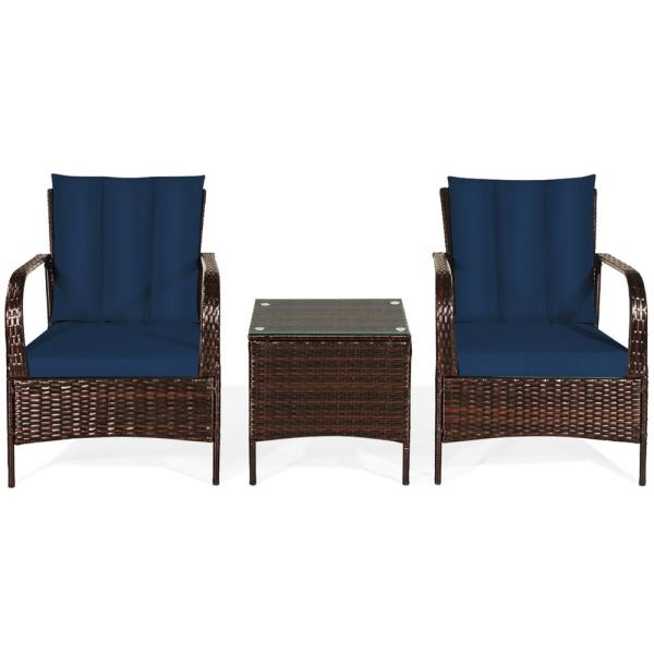 Island 3-Piece Wicker Patio Conversation Set with Navy Cushions