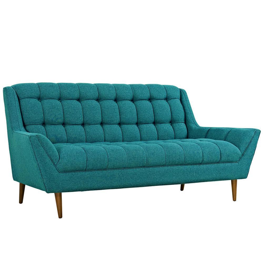 Response Teal Upholstered Fabric Loveseat
