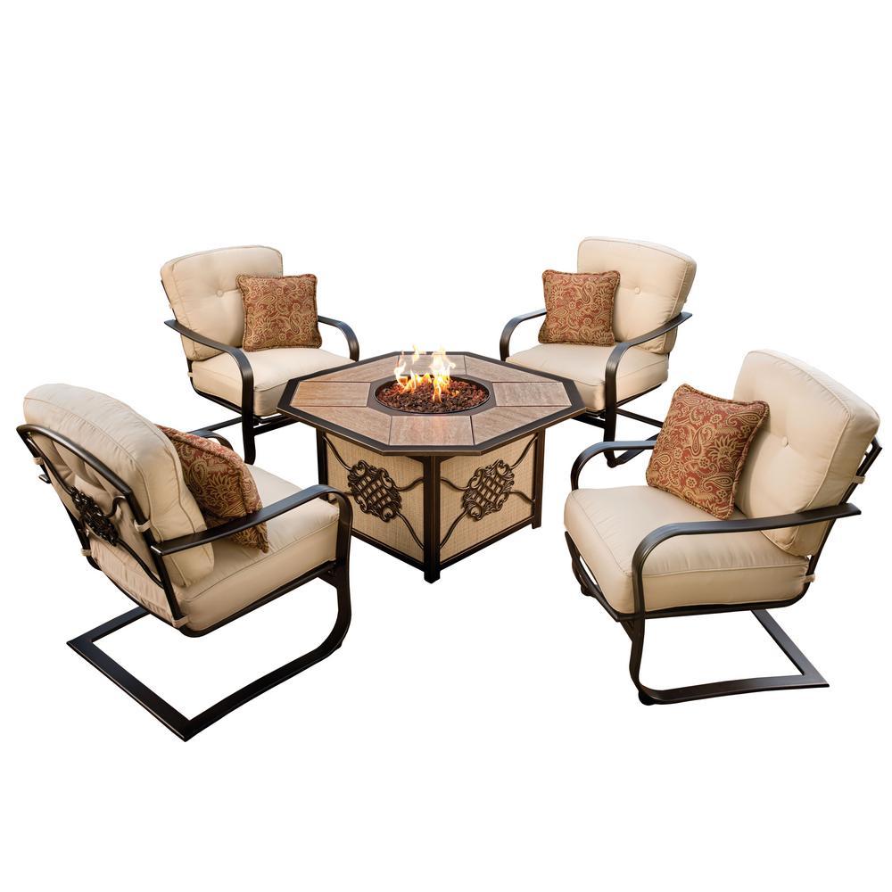 5-Piece Deep Seat Chat Set Gas Firepit Table Porcelain Top Burner Red Lava...