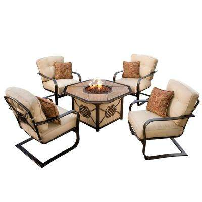 5-Piece Deep Seat Chat Set Gas Firepit Table Porcelain Top Burner Red Lava Rocks 4 Spring Chairs Cushions and Pillows