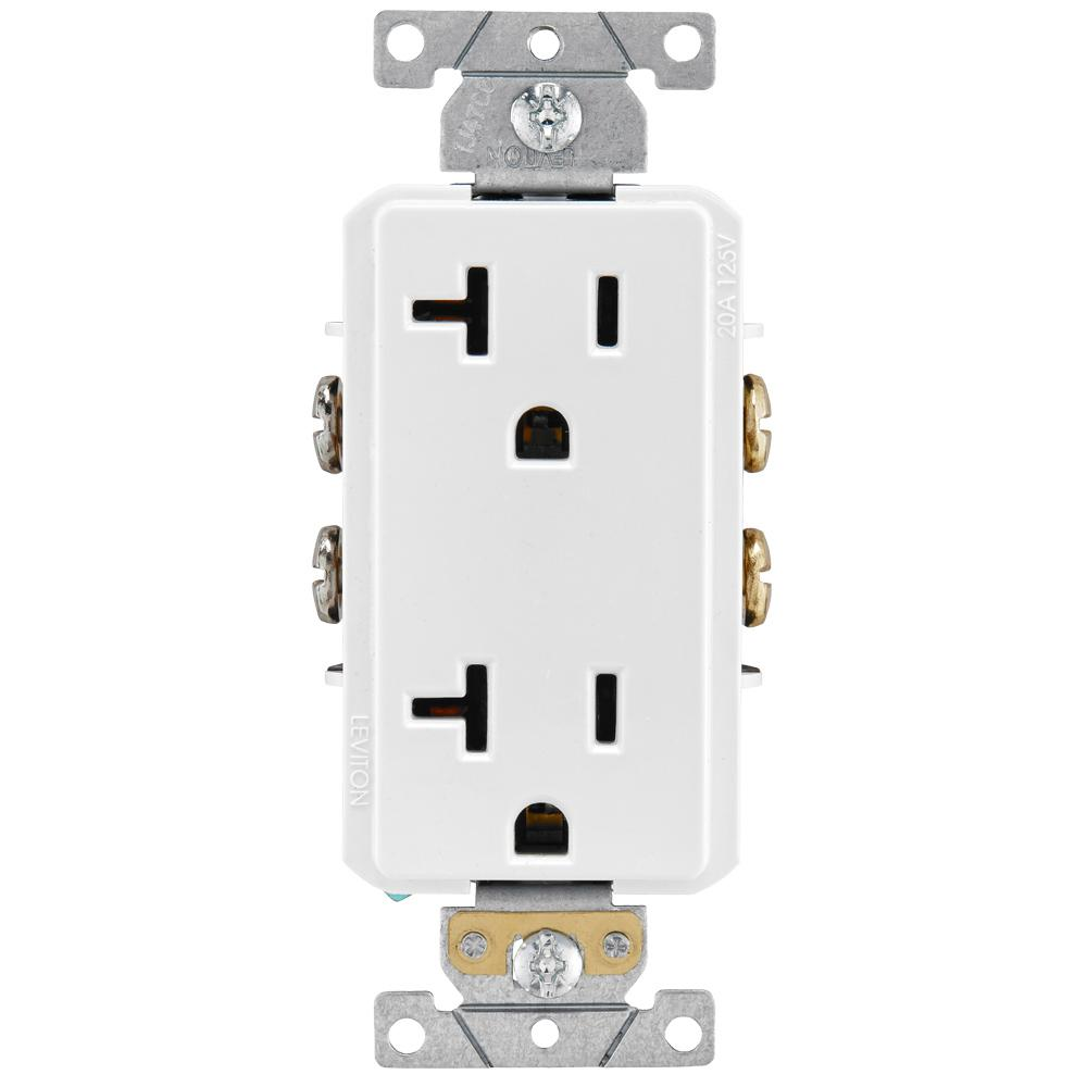 Leviton Decora Plus 20 Amp Industrial Grade Duplex Outlet, White