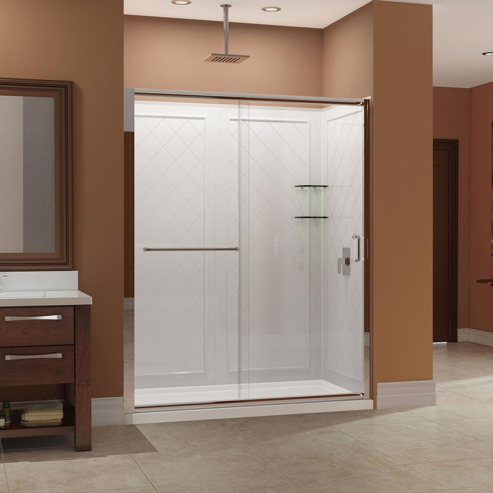 DreamLine Infinity-Z 30 in. x 60 in. x 76.75 in. Framed Sliding Shower Door in Brushed Nickel with Left Drain Base and Back Wall