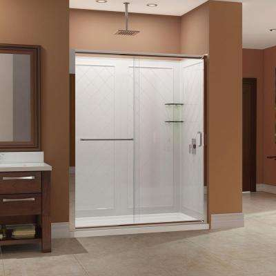 Infinity-Z 32 in. x 60 in. x 76.75 in. Sliding Shower Door in Brushed Nickel with Center Drain Base and BackWalls
