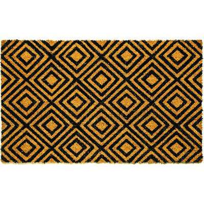 Vale Nested Diamonds Black/Ivory 18 in. x 30 in. Door Mat