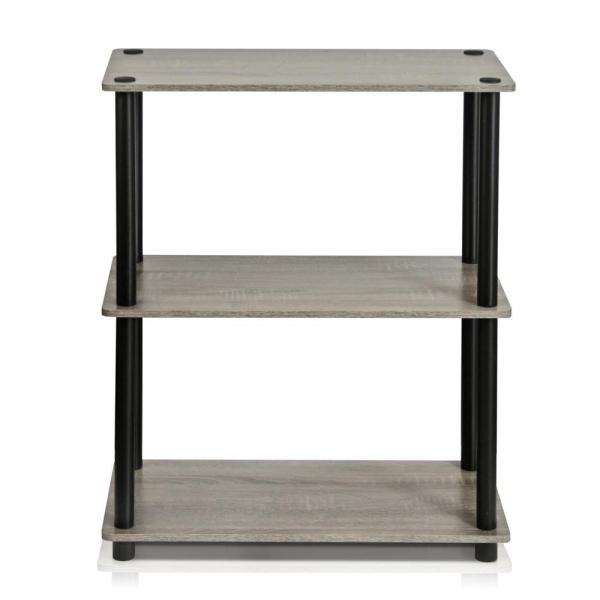 Furinno Turn-N-Tube French Oak Grey Compact Open Bookcase 10024GYW/BK