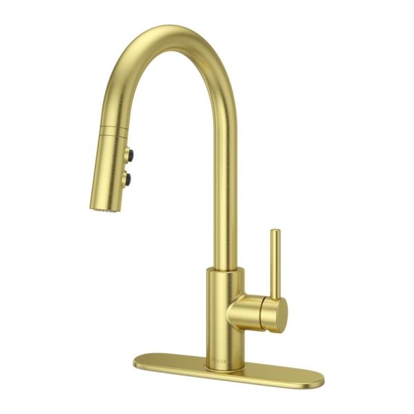 Stellen Single-Handle Pull-Down Sprayer Kitchen Faucet in Brushed Gold