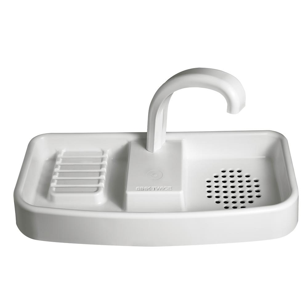 SINKTWICE Toilet Tank Cover Faucet and Sink Combo in White-1317 ...