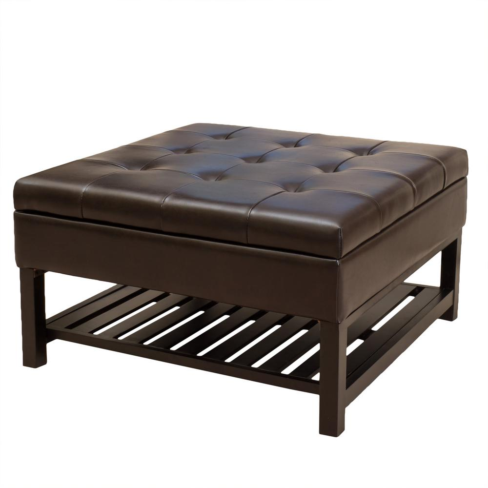 Noble House Miriam Brown Storage and Bottom Rack Ottoman