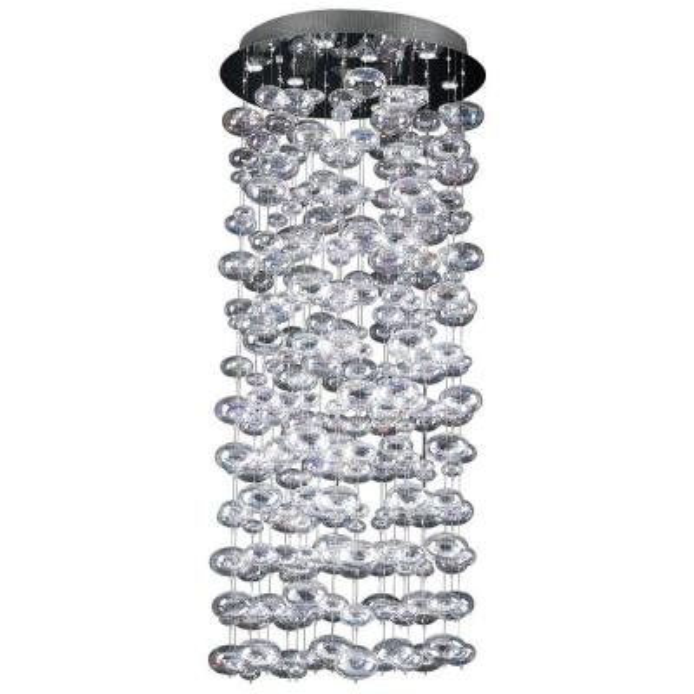 10-Light Polished Chrome Pendant with Iridescent Glass Shade