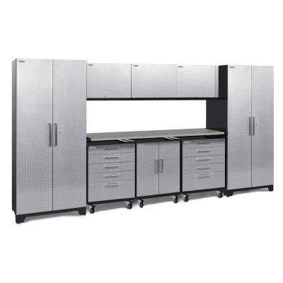 Performance Plus Diamond Plate 2.0 161 in. W x 83.25 in. H x 24 in. D Garage Cabinet Set in Silver (9-Piece)