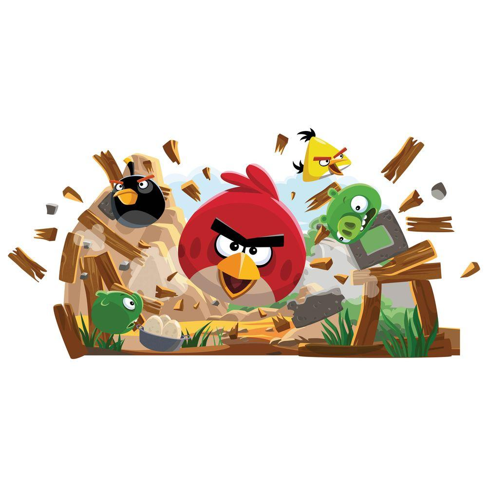 null 18 in. x 40 in. Angry Birds 32 -Piece Peel and Stick Giant Wall Decals