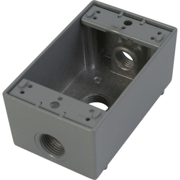 1 Gang Weatherproof Electrical Outlet Box with Three 1/2 in. Holes - Gray