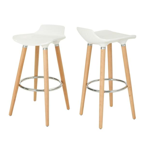 Noble House Hawkes 28.5 in. White Plastic Tractor-Seat Bar Stools with