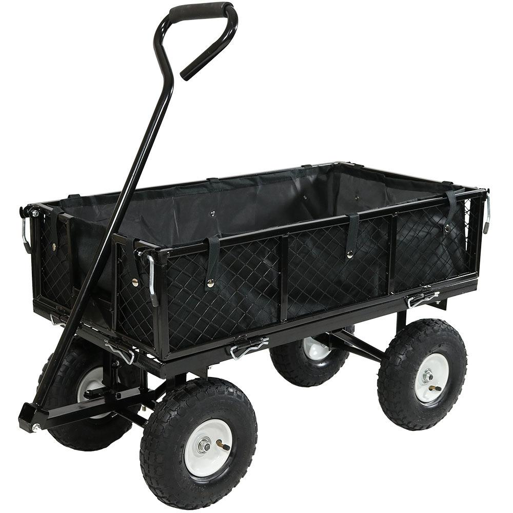 Sunnydaze Decor Black Steel Utility Cart with Folding Sides and Liner