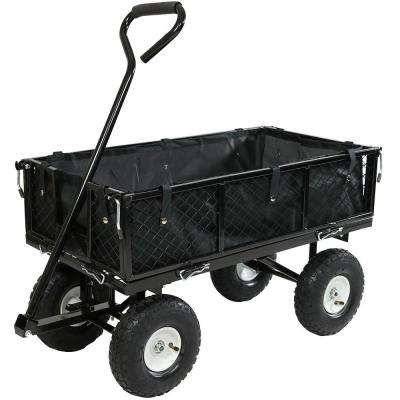Black Steel Utility Cart with Folding Sides and Liner
