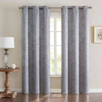 Chic Home Artistic Lurex Foil Heavy Weave Thermal Noise Reducing Blackout Window Panel Pair, 76''W x 96''L, Silver