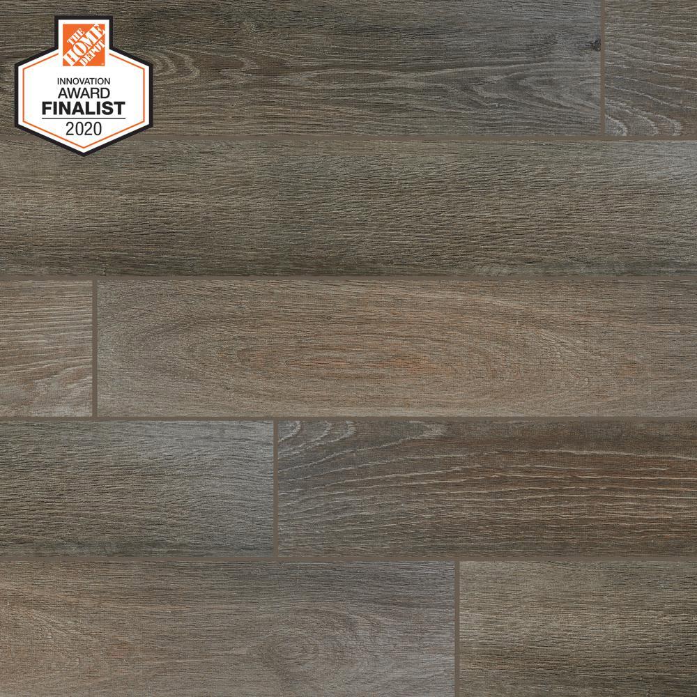 QuicTile 6 in. x 36 in. Driftwood Glazed Porcelain Locking Floor Tile (10.15 sq. ft. / case)