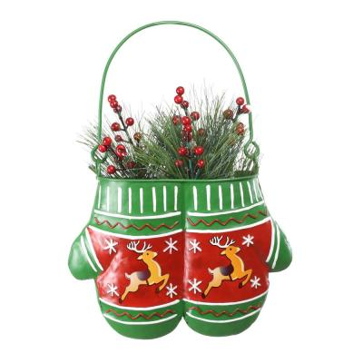 34 in. Tall Alpine Christmas Hanging Red/Green Metal Mittens Planter with LED Light