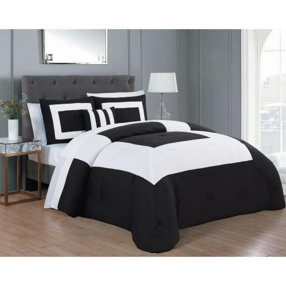 Avondale Manor Carson 8-Piece Black and White King Comforter Set CSN8CSKINGGHBW