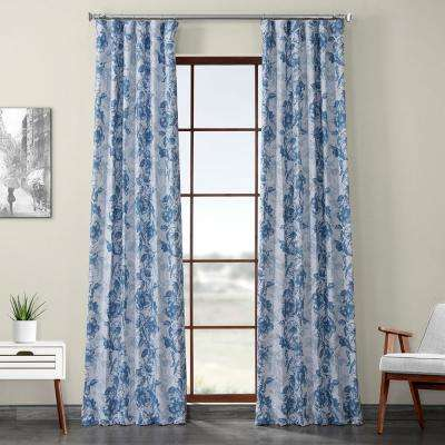 Blue Poppy Printed Linen Textured Blackout Curtain - 50 in. W x 108 in. L (1-Panel)