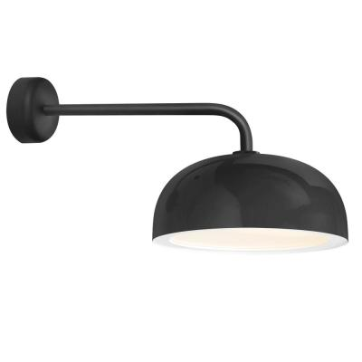 Dome 10.63 in. H 1-Light Black Outdoor Wall Mount Sconce