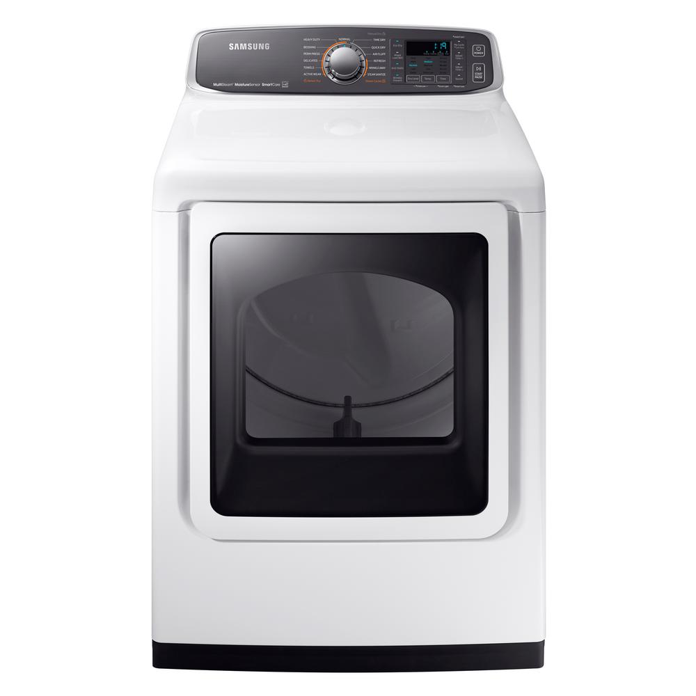 Samsung 7.4 cu. ft. Gas Dryer with Steam in White, Energy...
