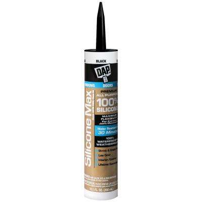 Silicone Max 10.1 oz. Black 100% Premium Window, Door, and Siding Silicone Sealant (12-Pack)