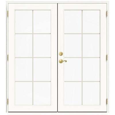 71.5 in. x 79.5 in. W-2500 Brilliant White Left-Hand Inswing French Wood Patio Door