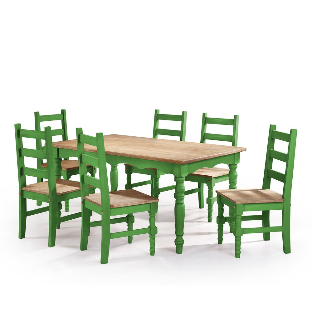 Oak Kitchen Tables And Chairs Sets: Manhattan Comfort Jay 7-Piece Green Wash Solid Wood Dining