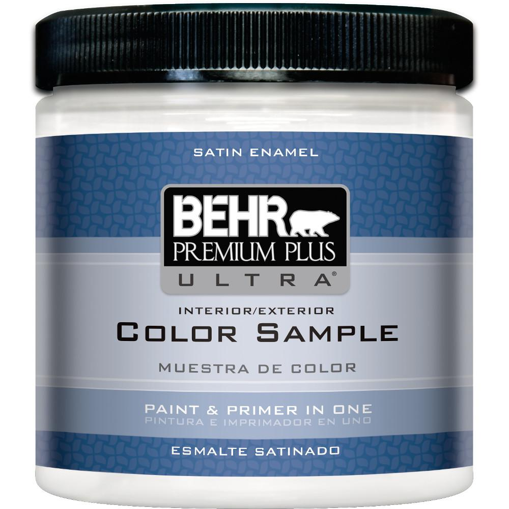 BEHR Premium Plus Ultra 8 oz. #220 Ultra Pure White Satin Enamel Interior/Exterior Paint and Primer in One Sample