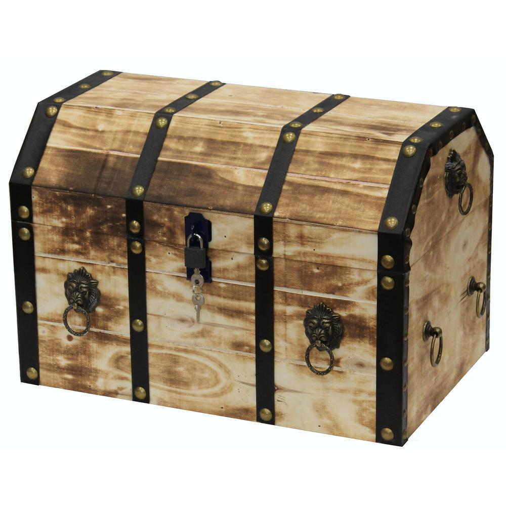 vintiquewise large wooden decorative lion rings pirate trunk with lockable latch and lock. Black Bedroom Furniture Sets. Home Design Ideas