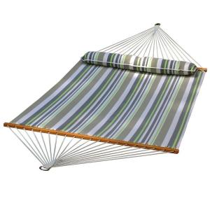 polyester swing hammock in green stripe algoma 13 ft  quilted reversible hammock in blue stripe with      rh   homedepot