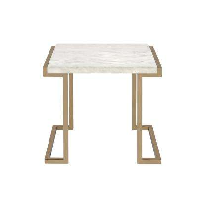 Boice II End Table in Faux Marble and Champagne