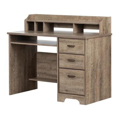 44.75 in. Weathered Oak Rectangular 3 -Drawer Computer Desk with Hutch