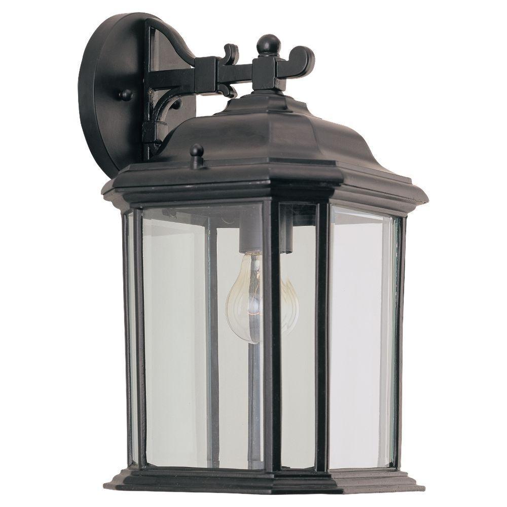Kent 8.5 in. W 1-Light Black Outdoor 15 in. Wall Lantern Sconce