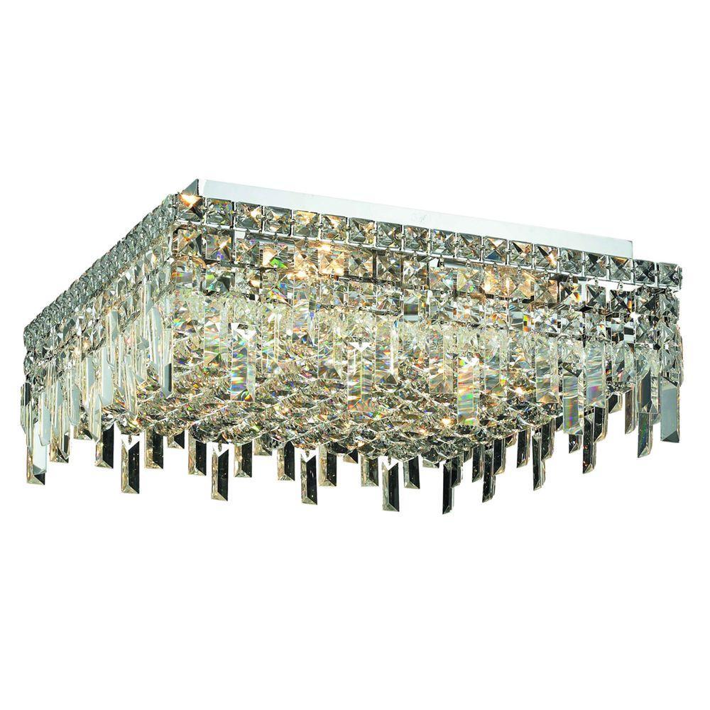 Elegant Lighting 12-Light Chrome Flushmount with Clear Crystal
