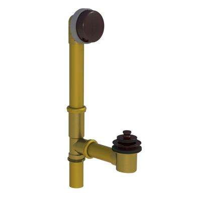 598 Series 24 in. Tubular Brass Bath Waste with Push Pull Bathtub Stopper, Oil-Rubbed Bronze