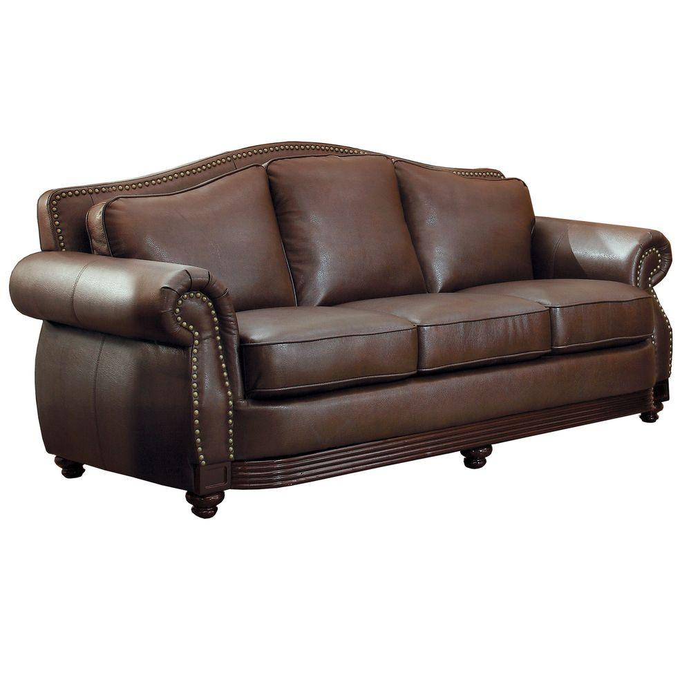homesullivan kelvington chocolate leather sofa 409616brw 3 the home depot. Black Bedroom Furniture Sets. Home Design Ideas