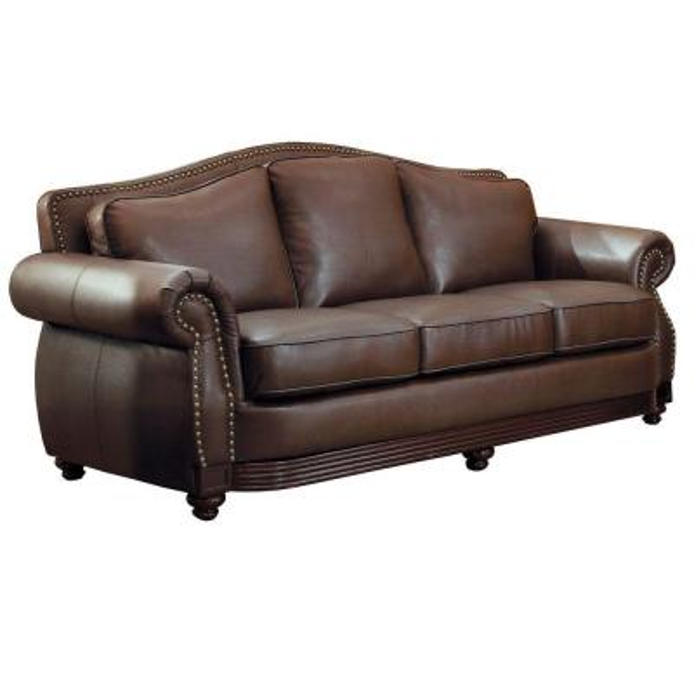 HomeSullivan Kelvington Chocolate Leather Sofa 409616BRW-3 ...