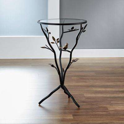 Antique Bronze Bird and Branches Tripod Side Table