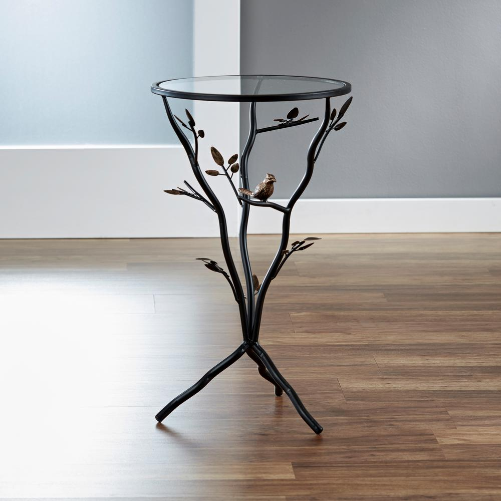 InnerSpace Luxury Products Antique Bronze Bird And Branches Tripod Side  Table